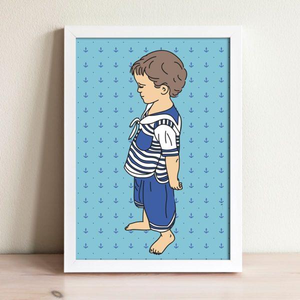 Anchor pattern print- Nursery wall art, Kids room decor