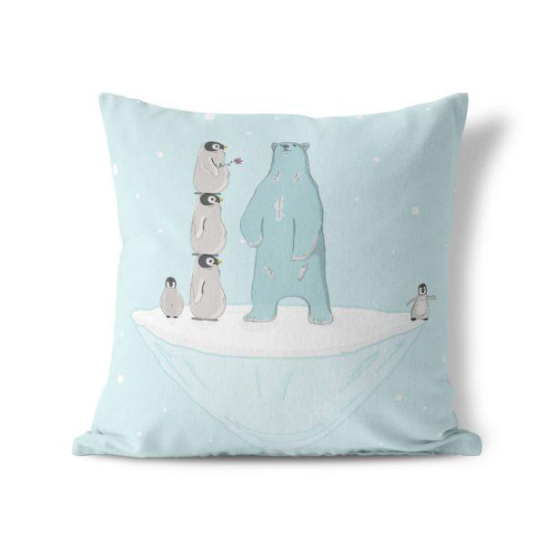 Bear and penguin throw pillow