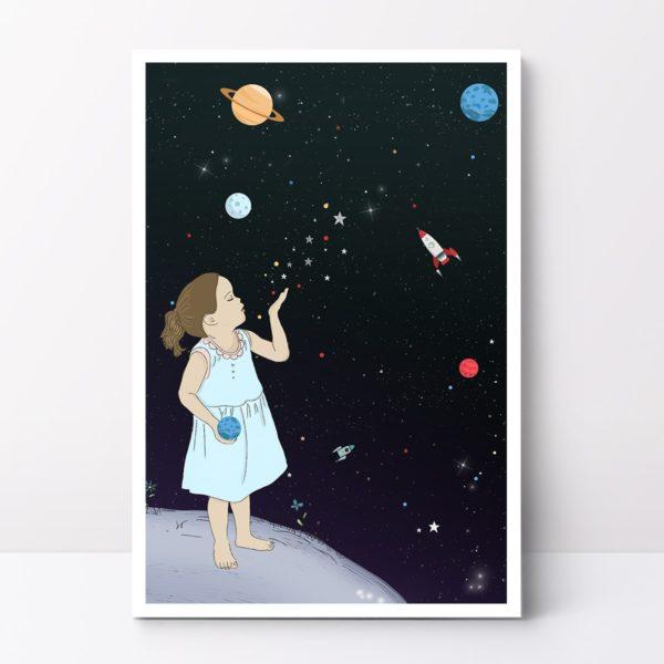 Boo in space print- Nursery wall art, Kids room decor