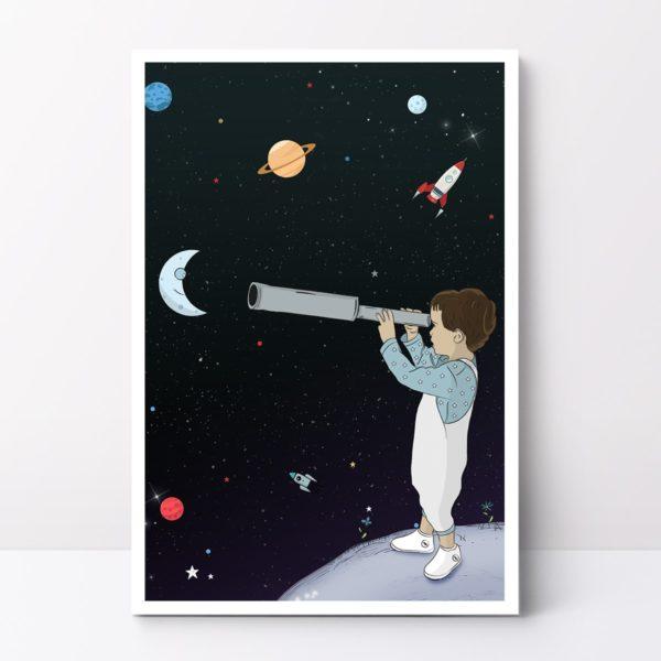 ציור דב מביט לכוכבים