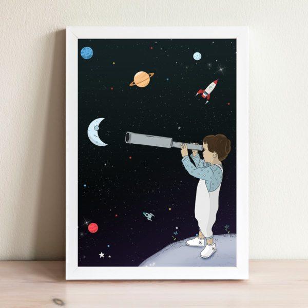 סט מבט על החלל עם מסגרת