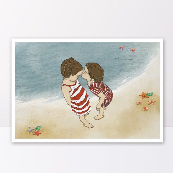 A day at the beach print- Nursery wall art, Kids room decor