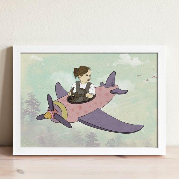 Boo flying a plane print- Nursery wall art, Kids room decor