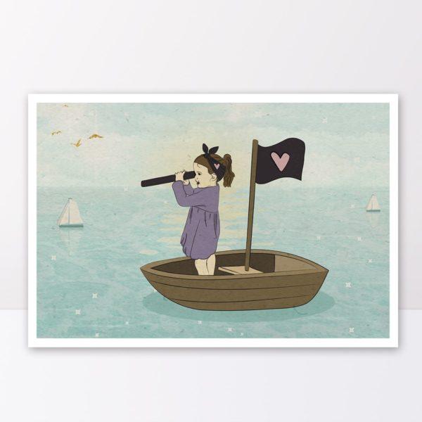 Boo on a boat print- Nursery wall art, Kids room decor
