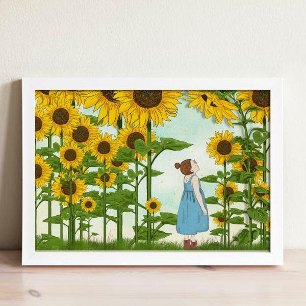 Boo in a sunflower field nursery wall art