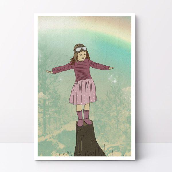 איור קיר, איור לחדר ילדים, איור לחדר בנות טייסת קטנה