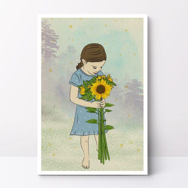Boo with a sunflower nursery wall art