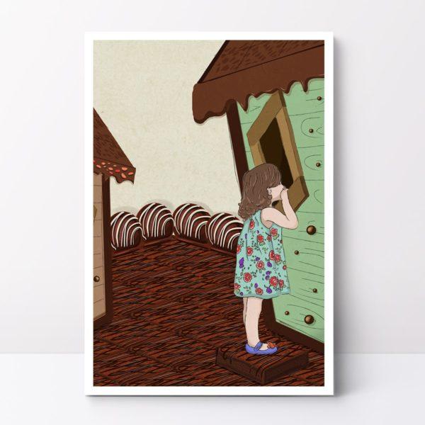 Chocolate house nursery wall art