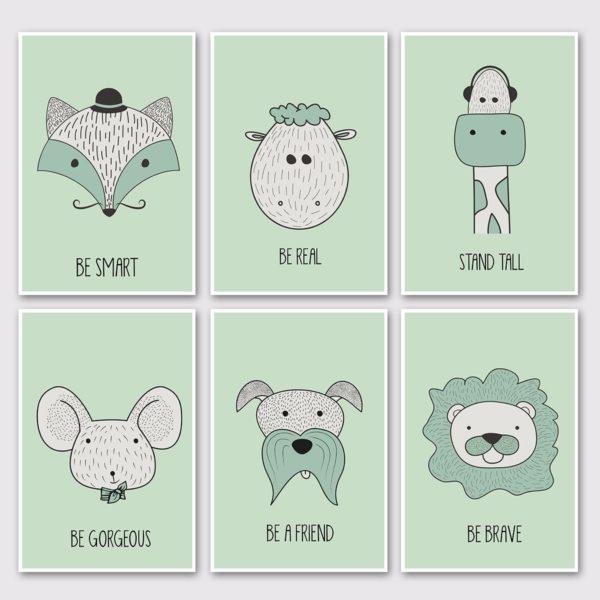 סט של 6 גלויות גדולות- ירוק
