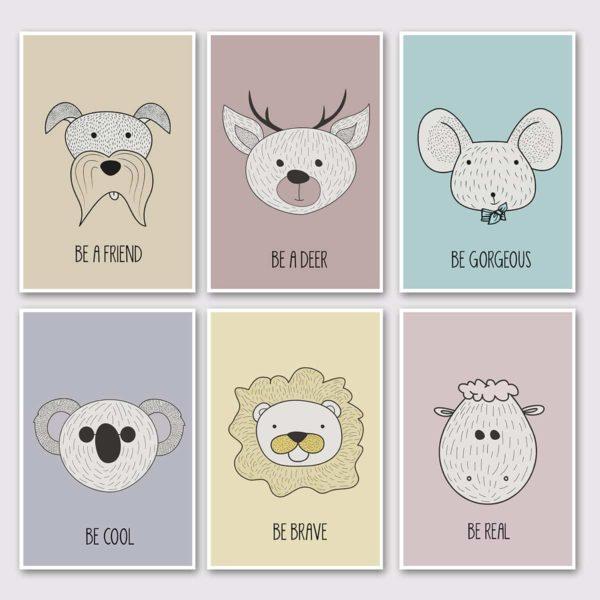 סט של 6 גלויות גדולות- חיות חכמות צבעוני