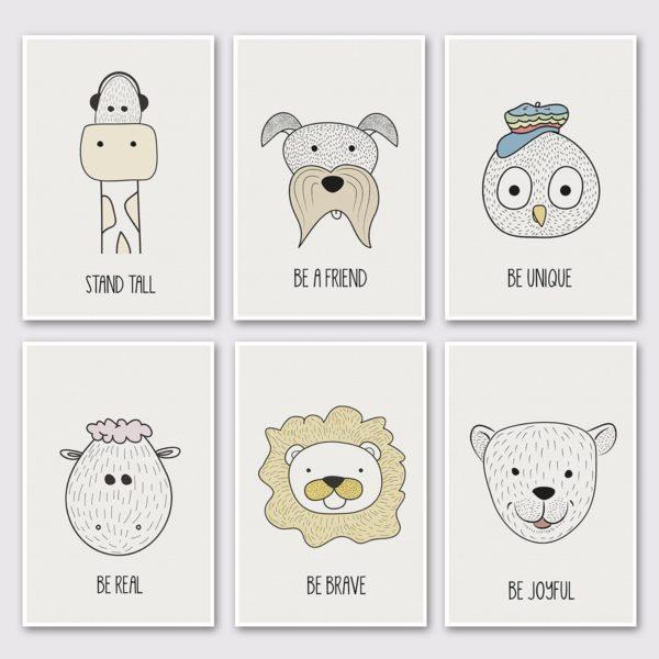 סט של 6 גלויות גדולות – חיות חכמות מינימליסטי