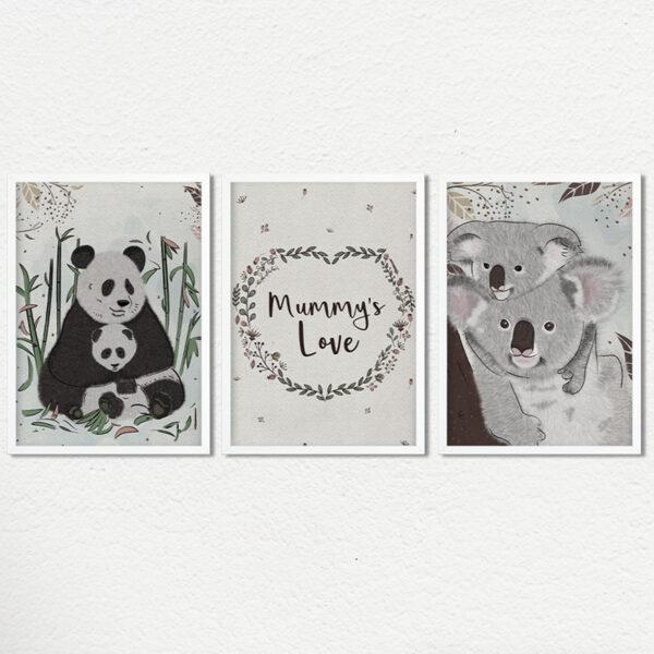 Set of Three mama themed Nursery Wall Art