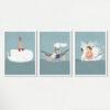 3 מסגרות ציורים בנושא ים