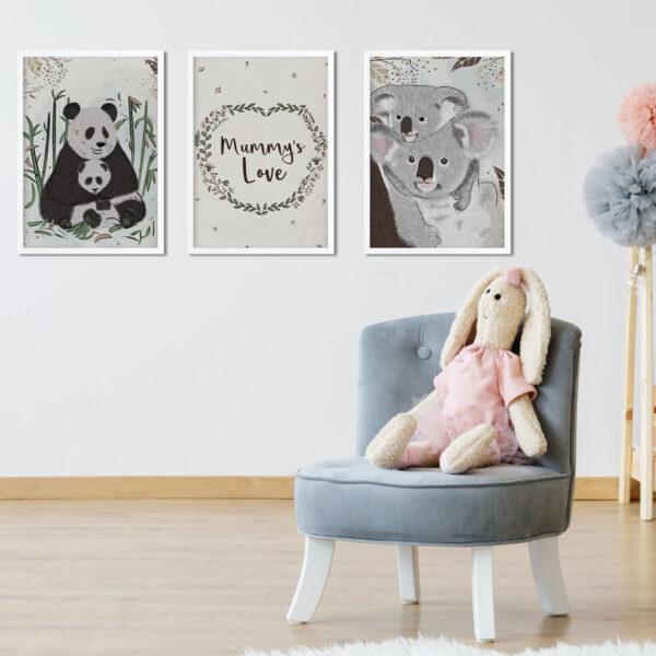 3 ציורים עם מסגרת של דובים גודל A3