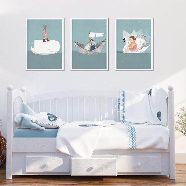 שלוש תמונות לחדר ילדים עם מסגרת- מים כחולים