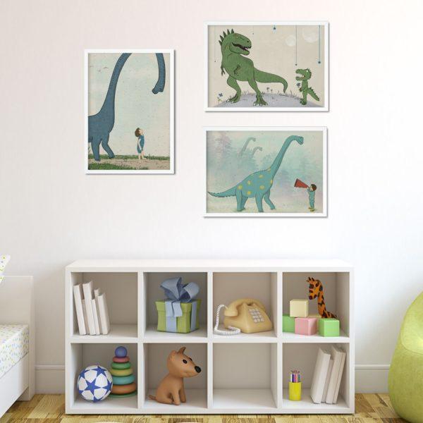Dinosaur set of 3 Nursery Wall Art prints for boys