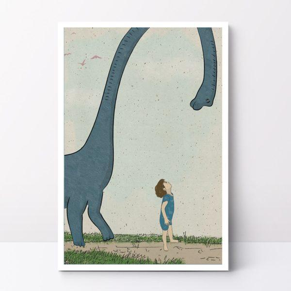 Blue dinosaur wall art print