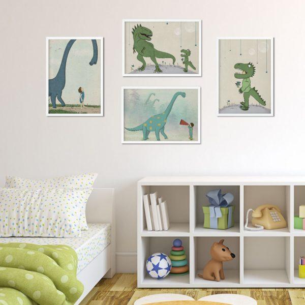 סט פוסטרים לחדר בנים- דינוזאורים סט 4 ציורים