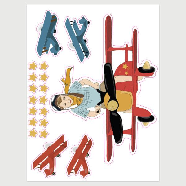 מדבקות קיר לחדרי ילדים – גיליון מדבקות דב טס על אוירון