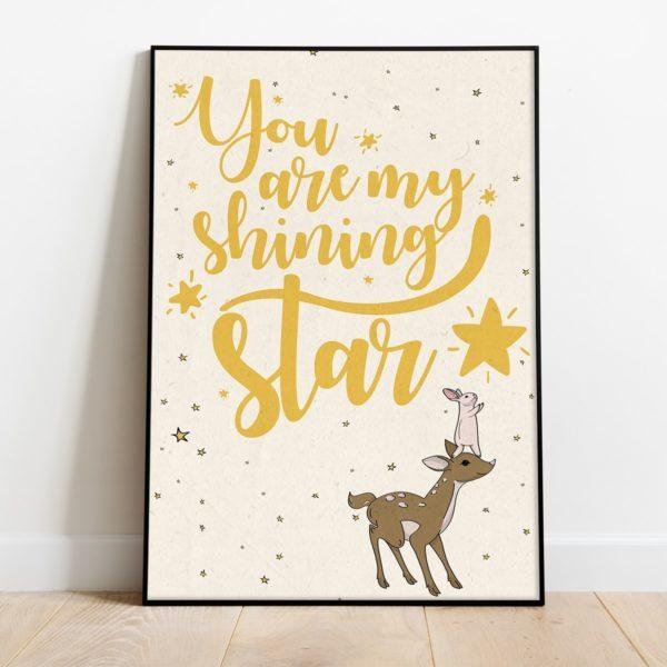 פוסטר משפט השראה לילדים- You are my shining star