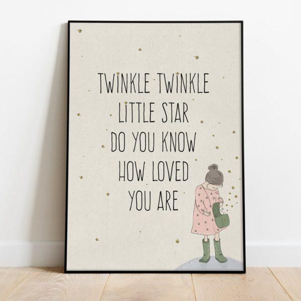 פוסטר משפט השראה לילדים- Twinkle Twinkle little star
