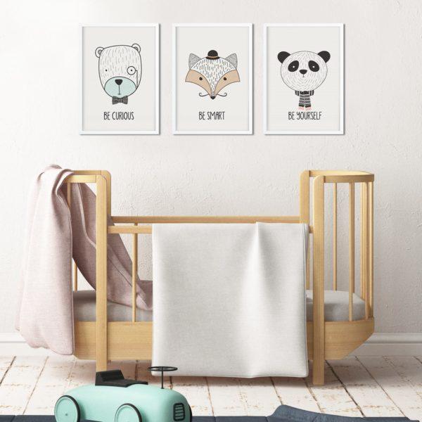 סט של 3 פוסטרים – חיות חכמות מינימליסטי לבחירה מתוך 12 עיצובים שונים