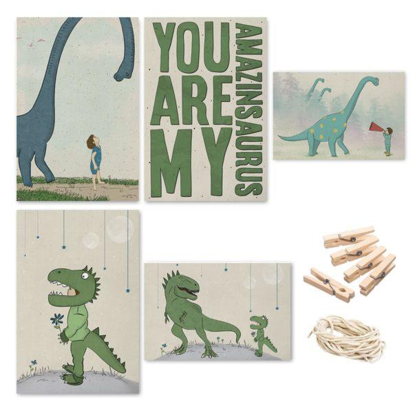 סט גלויות דינוזאורים