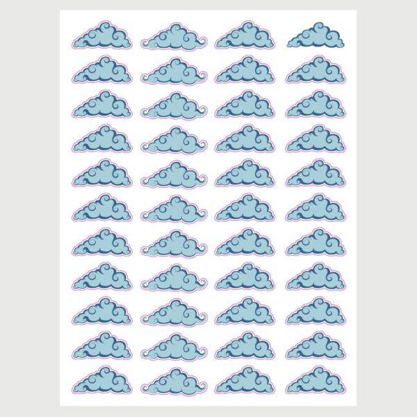 מדבקות קיר לחדרי ילדים – גיליון מדבקות עננים