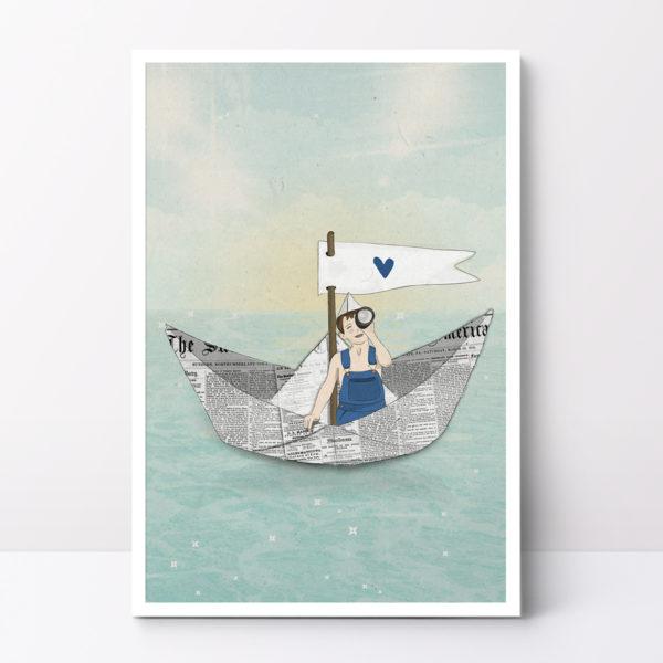 ציור סירת נייר