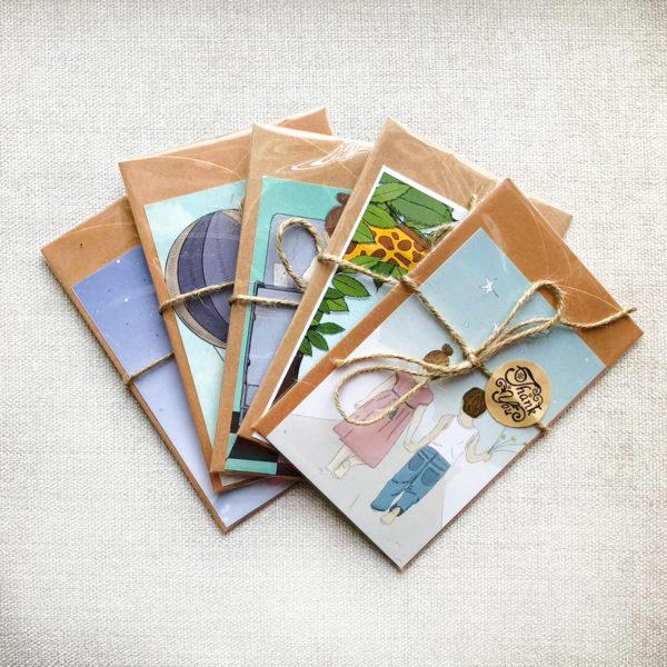 5 איורים בגודל גלויה עם מעטפה