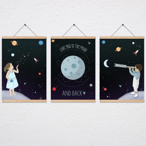 סט Love you to the moon and back עם מתלה עץ מגנטי
