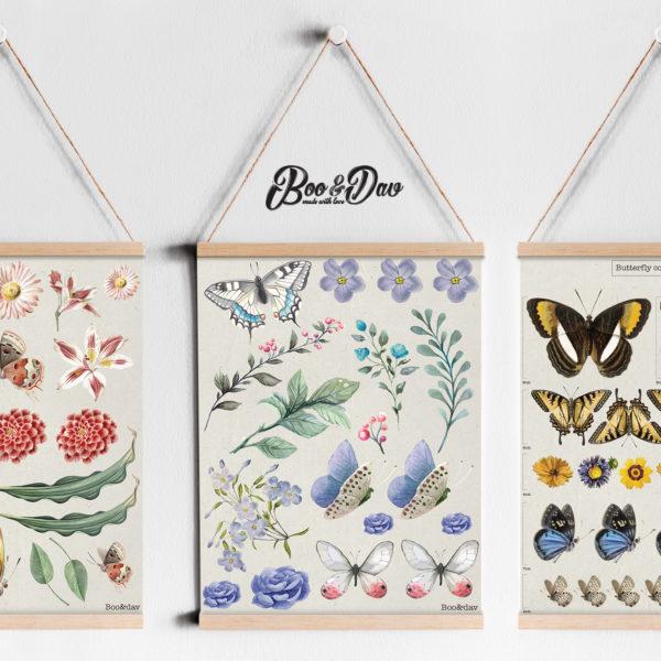 שלושה ציורים עם מתלה-פרפרים ופרחים