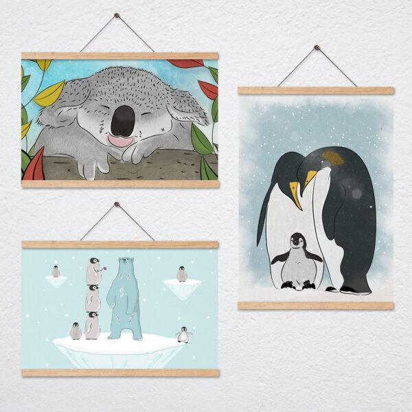 סט שלושה ציורים של חיות