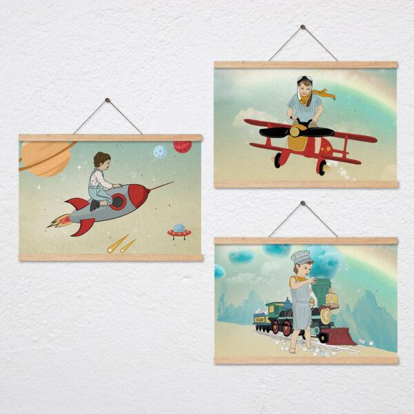 סט שלושה ציורים בנושא תחבורה