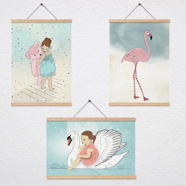 סט שלושה ציורים של בנות