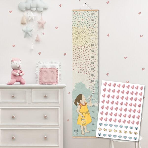 מד גובה לילדים גחליליות – סרגל גובה+סט מדבקות קיר