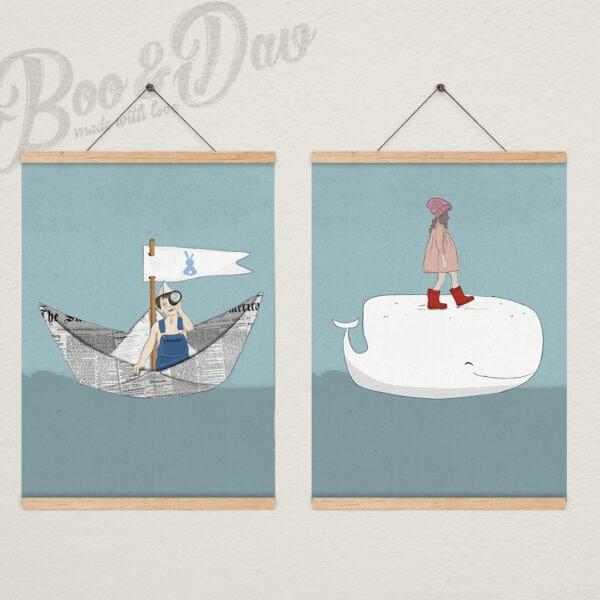 שני ציורים עם מתלה- ים וימית
