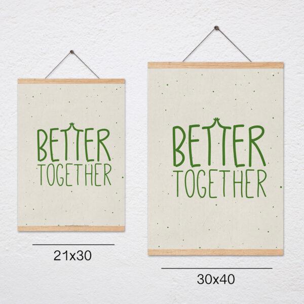 פוסטר משפט השראה לילדים+מתלה Better together