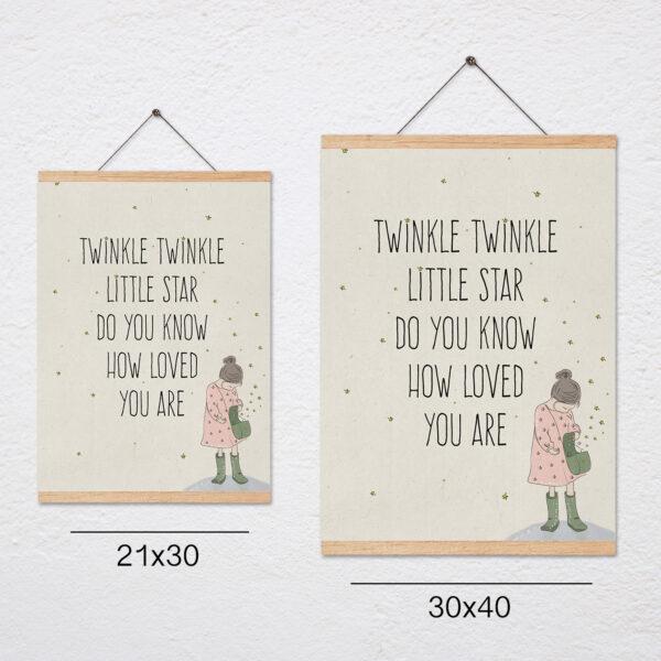 פוסטר משפט השראה לילדים+מתלה – Twinkle Twinkle little star