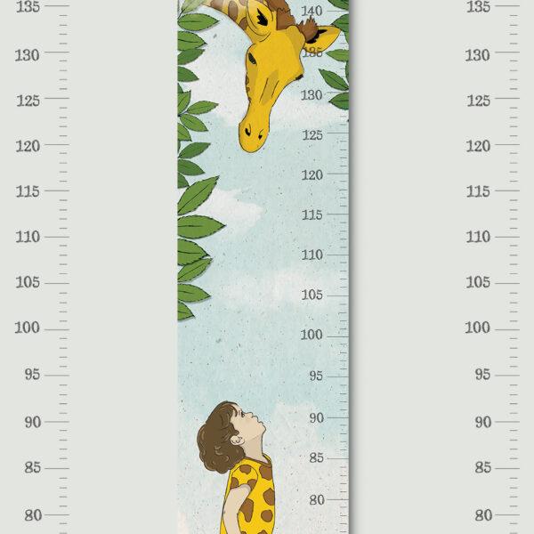 מד גובה לילדים ג׳ירפה בעננים – סרגל גובה+סט מדבקות קיר