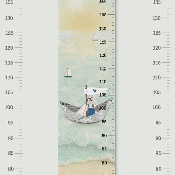 מד גובה לילדים ים ושמיים – סרגל גובה+סט מדבקות קיר