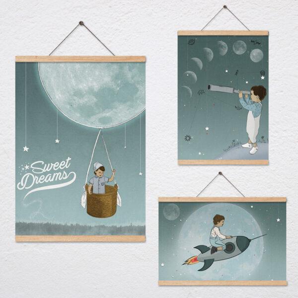 שלושה ציורים בנושא ירח