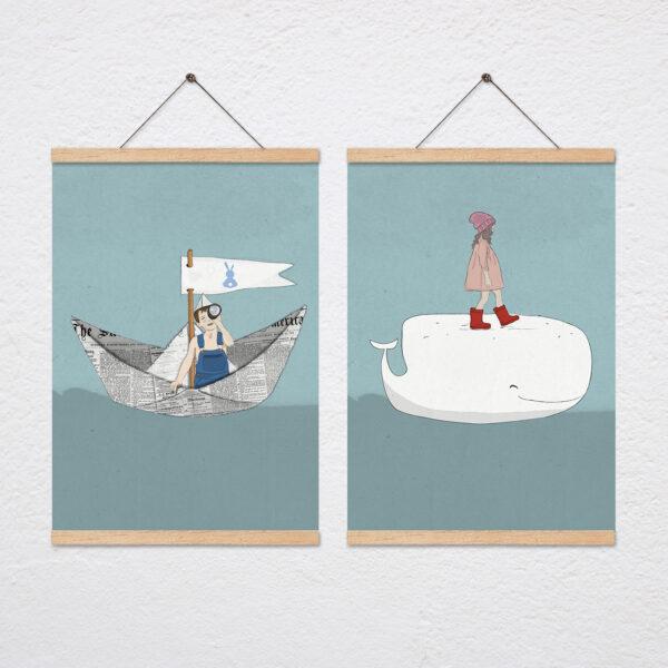 סט שני ציורים ים ימית