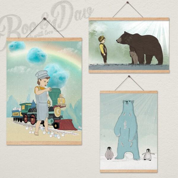 שלושה ציורים עם מתלה- דובים ורכבות