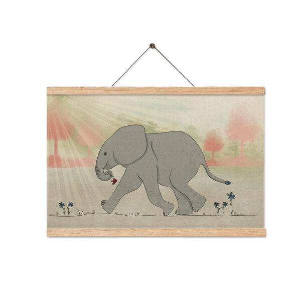 ציור פיל עם מתלה