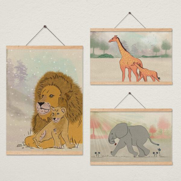 סדרת ציורים חיות ספארי לחדר ילדים