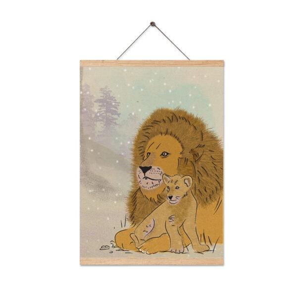 ציור אריה עם מתלה