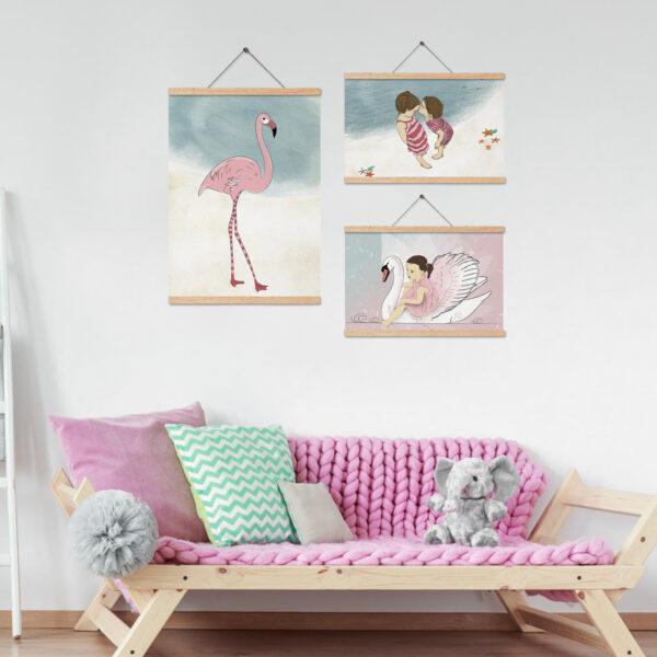 סט שלושה ציורים בורוד גדלים שונים