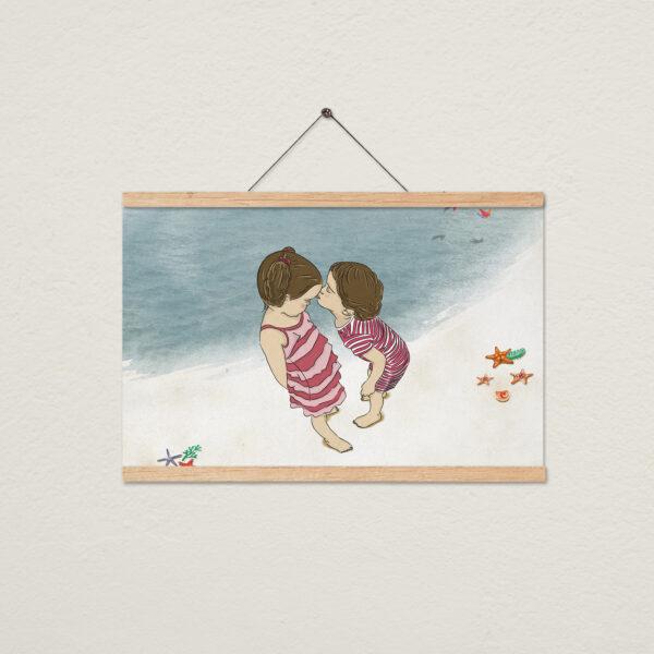 ציור יום בים ורוד