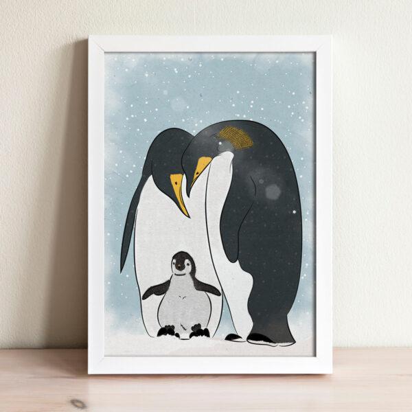 ציור משפחת פנגווינים